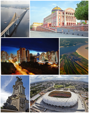 Top left, clockwise: Manaus–Iranduba Bridge; Amazon Theatre; Meeting of Waters; Amazon Arena; Opening of the Ports Monument and view of the city.
