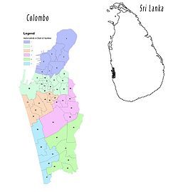Map of Colombo showing its administrative districts.的位置