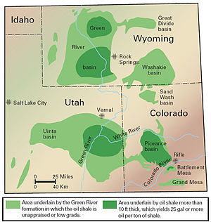 Colorado, Utah and Wyoming oil shale deposits.