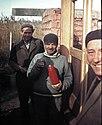 Colorful, construction, men, beret, vacuum flask Fortepan 11581.jpg