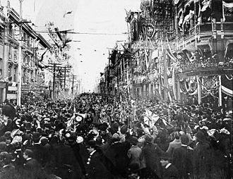 C Company returns from Boer War, pictured here in King Street, Toronto, Ontario, Canada. Company C returns from Boer War.jpg