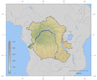Congo Basin - Course and drainage basin of the Congo River with topography shading