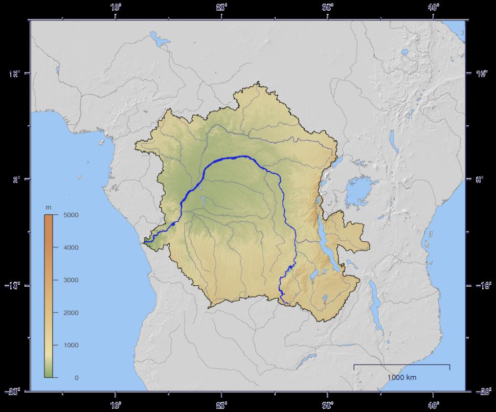 CongoLualaba watershed topo