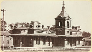 Connecticut River Railroad - The former Connecticut River Railroad depot in Northampton, Massachusetts, ca. 1880s