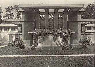 "Avery Coonley School - The Coonley Playhouse, with its signature ""kinder-symphony"" windows, was built by Frank Lloyd Wright to house the Cottage School in 1912. It has been nominated as a National Historic Landmark."