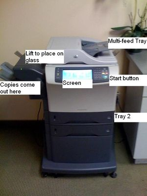 Labeled MKW copy machine.