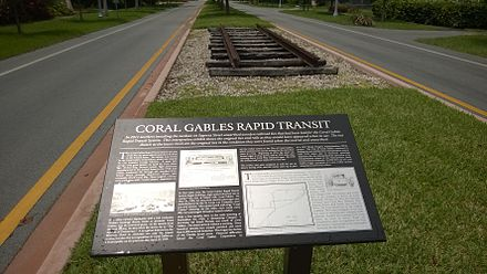 A section of historic Coral Gables Rapid Transit track on Segovia Avenue. Coral Gables Rapid Transit track n plaque.jpg
