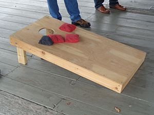 Cornhole - A typical cornhole board, with two colors of bag