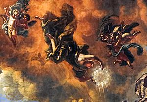 1671 in Sweden - The Crown of Immortality, held by the Allegoric figure Eterna (Eternity) on the Swedish House of Knights Fresco by David Klöcker Ehrenstrahl
