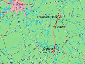 Cottbus–Frankfurt (Oder) railway - Image: Cottbus Frankfurt Karte