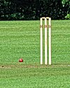Cricket ball and wicket at Takeley Cricket Club ground, Essex, England 01.jpg
