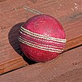 Cricket ball at Southwater CC, in Southwater, West Sussex, England.jpg