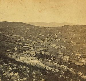 Clara Brown - Cropped detail of stereoscope: Central City, Colorado Territory, by W. G. Chamberlain (William Gunnison)