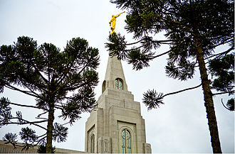 Curitiba Brazil Temple - Angel Moroni statue on spire