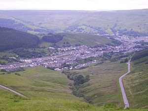 Cwmparc - Image: Cwmparc, Rhondda from the Bwlch
