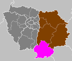 Location of Fontainebleau in Île-de-France