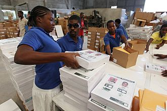 United Nations Department of Field Support - DFS workers packing Haiti election ballots in 2011.