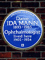 Dame IDA MANN 1893-1983 Ophthalmologist lived here 1902-1934.jpg