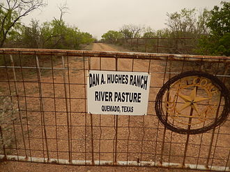 Quemado, Texas - Entrance to Dan A. Hughes Ranch off U.S. Route 277 north of Quemado
