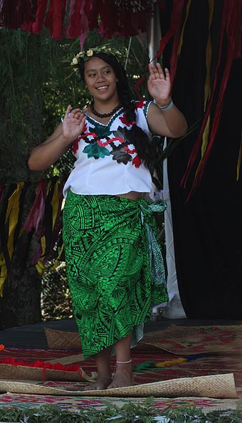 A Tuvaluan dancer at Auckland's Pasifika Festival Dancer, Tuvalu stage, 2011 Pasifika festival.jpg