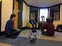 Daniel Bogre Udell interviewing a German Wikimedian at Wikimania 2018, Cape Town (43688726661).jpg