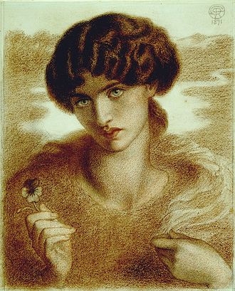 Water Willow (Rossetti) - Chalk study for Water Willow.  Birmingham Museums & Art Gallery.