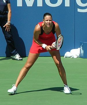Lindsay Davenport - Davenport preparing to return serve at the 2006 U.S. Open against Katarina Srebotnik of Slovenia in the third round on the Grandstand court