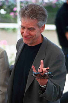 O director cinematografico canadiense David Cronenberg en o Festival de Cannes (2002).
