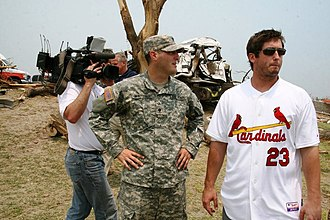 David Freese - Freese surveys the damage caused by the 2011 Joplin tornado