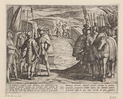 De Bataven worden bang en beginnen vredesonderhandelingen De Bataafse oorlogen tegen de Romeinen (serietitel) Batavorum cum Romanis Bellum (serietitel), RP-P-OB-37.641