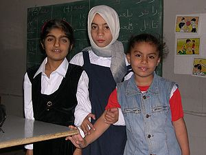 Deaf culture - Students at a school for deaf students in Baghdad, Iraq (April 2004)