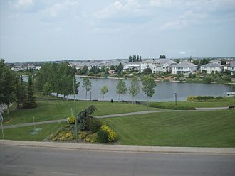 Neighbourhoods in Regina, Saskatchewan - Decorative storm reservoir in Windsor Park, a newer residential subdivision: such features are characteristic of affluent new developments in the east and north sectors of the city.