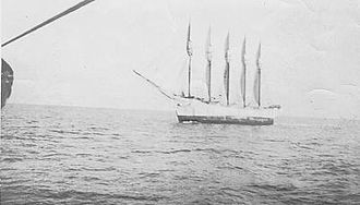 Bermuda Triangle - Schooner Carroll A. Deering, as seen from the Cape Lookout lightvessel on January 29, 1921, two days before she was found deserted in North Carolina. (US Coast Guard)