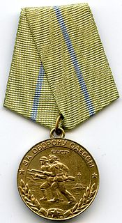 "Medal ""For the Defence of Odessa"" military decoration of the Soviet Union"