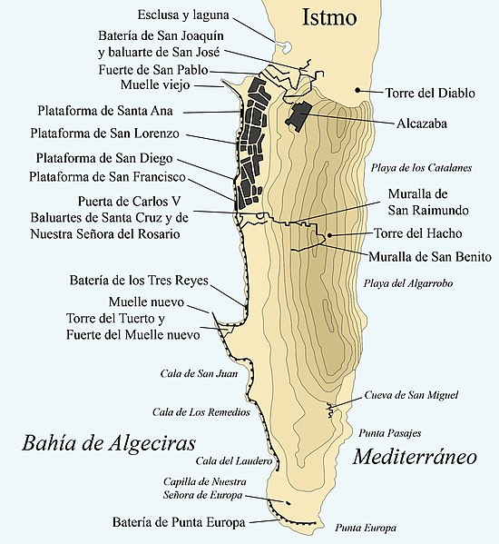 Archivo: Defensas de gibraltar 1704.jpg