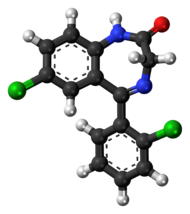 Ball-and-stick model of the delorazepam molecule