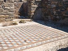 Rhombille Tiling Floor Mosaic In Delos