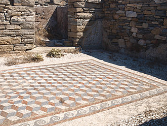 Mosaics of Delos - A cubic floor mosaic in a house on the island of Delos