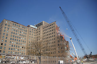 Naval Station Great Lakes - A view of the former Great Lakes Naval Hospital during demolition in 2013.