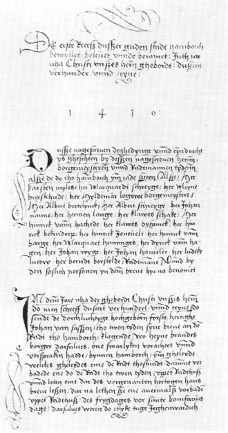 Hamburg Parliament - The first known document of the Erbgesessene Bürgerschaft, Erster Rezess of 1410.
