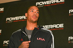 Derrick Rose at a promotional appearance.