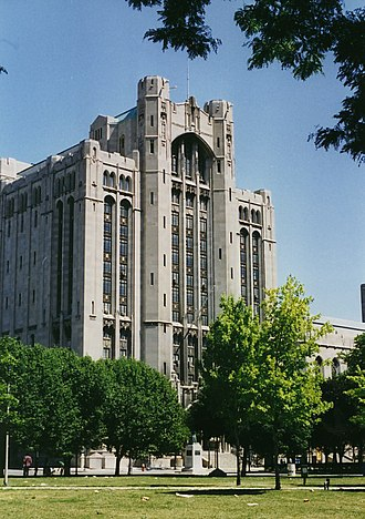 Detroit Masonic Temple - Exterior view of the Ritualistic Tower seen from Cass Park (c.2007)