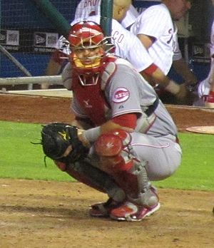 Devin Mesoraco - Mesoraco catching in a game against the Phillies