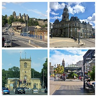 Dewsbury Town in West Yorkshire, England
