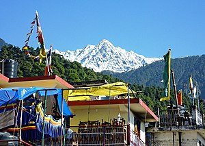 McLeod Ganj - Dhalaudhar peak from McLeod Ganj cafe