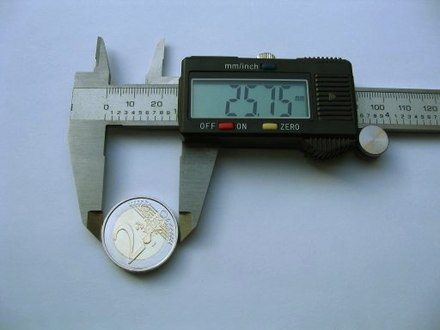 A caliper is used to precisely measure a short length. DigitalCaliperEuro.jpg
