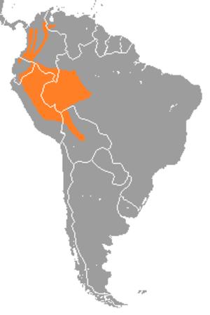 Pacarana - Image: Dinomys branickii range map