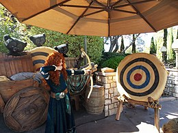 Disneyland Merida shoots her bow.jpg