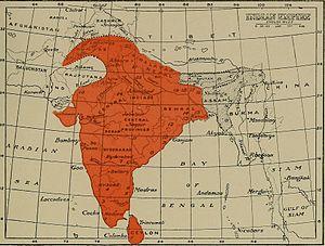 Banded kukri snake - Image: Distribution of Simotes arnensis (1886)