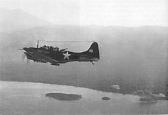 Dive bomber at Torokina on D-Day morning.jpg